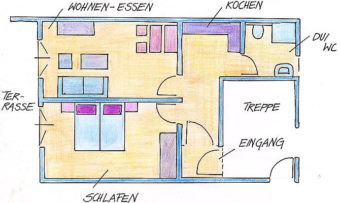 Ferienwohnungen Maria, 83700 Rottach-Egern, Grundriss FeWo Leonhardstein